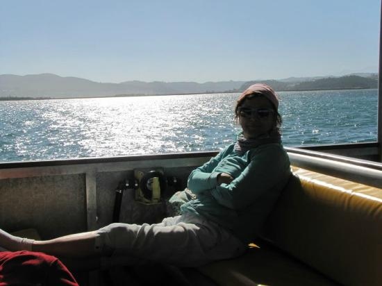 Knysna, Sydafrika: Enjoying the sun but taking the winds