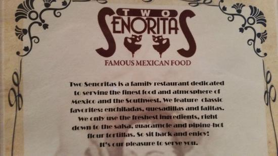 Two Senoritas : Menu story