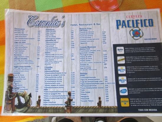 Carmelita's: menu