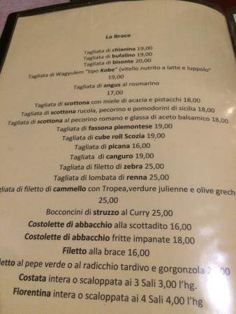 Santa Giustina in Colle, Италия: Menu