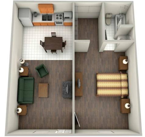 DayBreak Suites Extended Stay: 1BR rendering