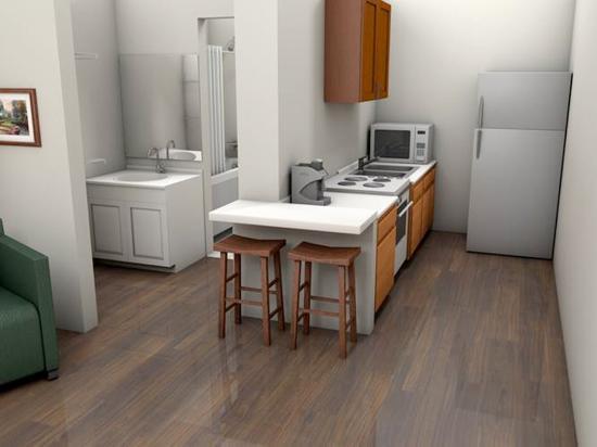 DayBreak Suites Extended Stay: Kitchen in Studio Suite Rendering