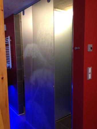 toilette und dusche mit schiebe trennwand picture of hotel herrmann muensingen tripadvisor. Black Bedroom Furniture Sets. Home Design Ideas