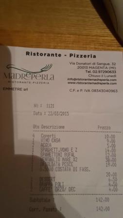 Magenta, Italia: Il conto per darvi un idea