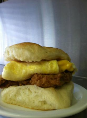 J Creek Cafe: Steak, egg and cheese biscuit...