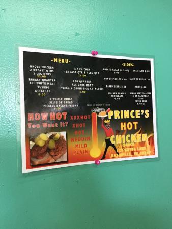 Menu Picture Of Princes Hot Chicken Shack Nashville Tripadvisor