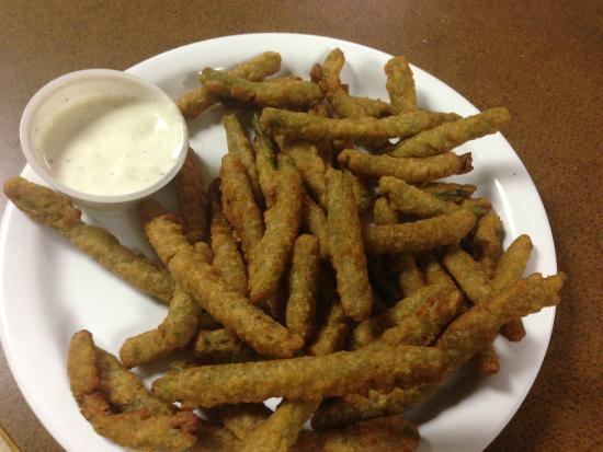J Creek Cafe: Fried green beans served with our homemade ranch dressing...