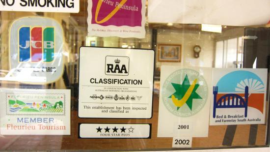 Cape Jervis Accommodation & Caravan Park: latest 'tick'  rating in 2002 ?