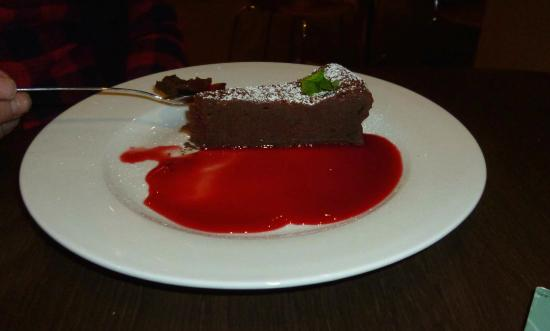 Carluccio's - Kingston: chocolate torte with rasperrry coulis