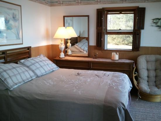A1 Cottage Rentals: Cottage #1 queen bedroom with a view of Lake Huron.  Walk out deck