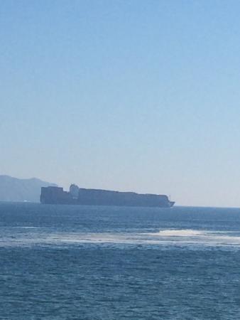Manzanillo Bay: Huge barge on bay