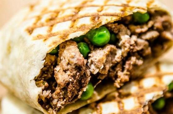Egg-e-licious: Lamb and tarka pea wrap