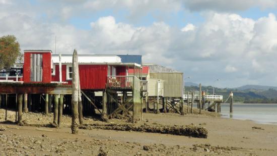 Rawene, Nowa Zelandia: Boatshed Cafe at low tide