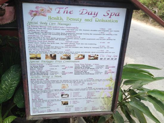 Mae Nam, Tailandia: The Day Spa price list