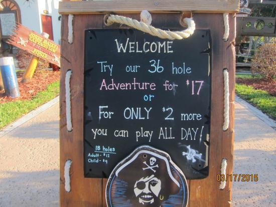 Pirate's Cove Adventure Golf: sign