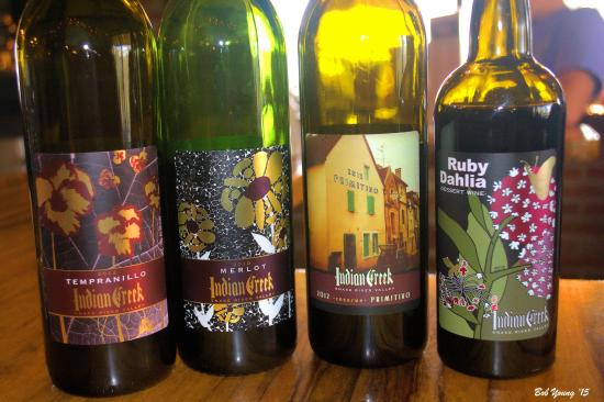 Indian Creek (Stowe) Winery : Some of their wines.