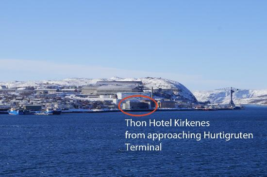 Thon Hotel Kirkenes: Shot of hotel taken as we approached Hurtigruten Cruise terminal in harbor.