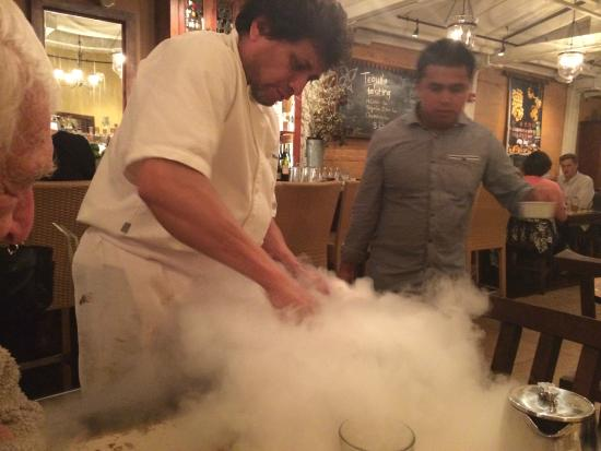 Mateo's Cocina Latina : Mateo's chef making our special desert at our table