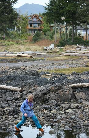 Exploring the cove with the Wild Shores Guest House in the background.