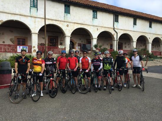Cal Coast Adventures : Our group ready to hit Gibraltar Rd,, leaving from Santa Barbara Mission