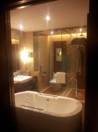 Marco Polo Jinjiang: the bathroom view from the sliding door