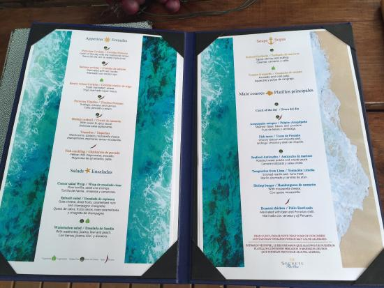 Sea Salt Menu Picture Of Secrets The Vine Cancun Cancun Tripadvisor