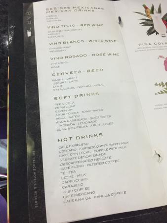 Hotel Riu Palace Peninsula Drink Menu