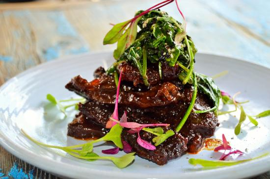 Social on Main: Braised Beef Ribs with Sesame Spinich