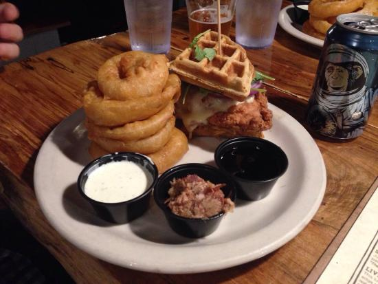 Twains Billiards & Tap: Chicken and waffles with onion rings. Dipping sauce: ranch, bacon with  caramelized onions mixtu