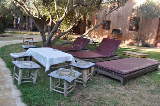 Dar Tougga : transats près de la piscine chauffée