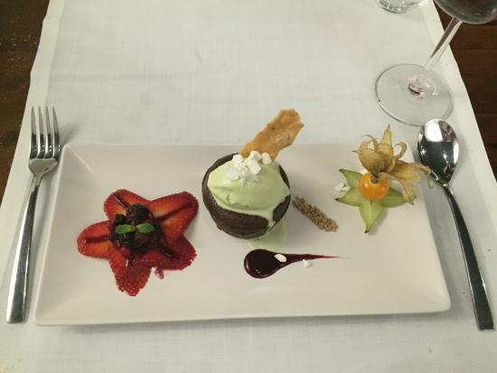 Can Costa: Chocolate Bombe with strawberries, cape gooseberry and pistachio ice cream