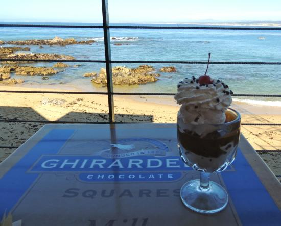 Ghirardelli Ice Cream & Chocolate Shop: View of Monterey Bay from our table