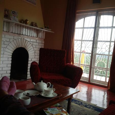 Hill View Bungalow: fire-place & tea