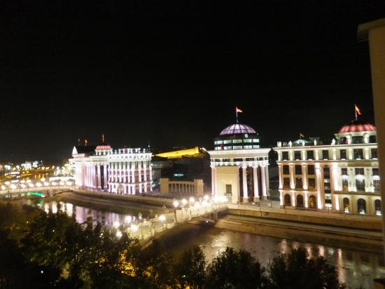 Holiday Inn - Skopje: buildings in light up from the room (Room No. 818)
