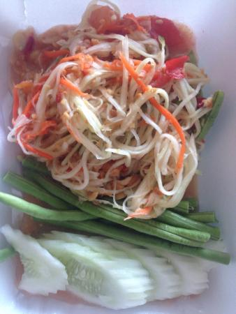 Sweet and Sour: Classic papaya salad. The best I've had in Karon so far. Super fresh and nicely presented - this