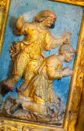 Bunzac, France: Saint Symphorien : retable du XVIII (altarpiece)