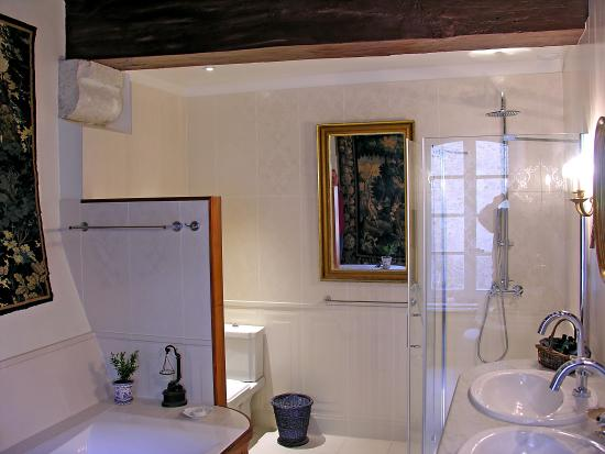 Chateau de la Barre : Bathroom of Chambre Marin with walkin shower and double sink and jacuzzi bath