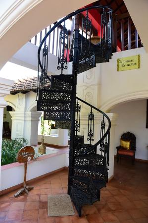 Raheem Residency: The spiral staircase up to the restaurant