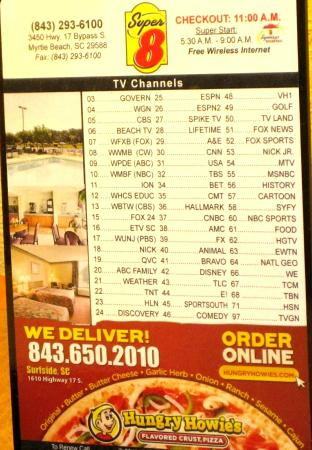 Super 8 Myrtle Beach/Market Common Area: Room TV channels