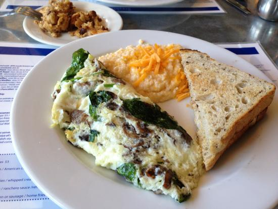 Egg White Omelet w/Cheddar Grits - Picture of Blue Plate Kitchen ...