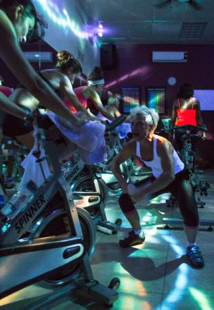 Cabarete Spinning Studio: Our energetic instructor Kit getting everyone fired up