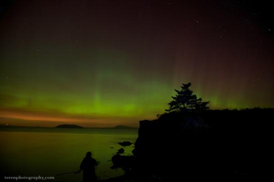 San Juan Island, WA: Northern Lights over Reuben Tarte Park