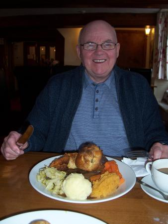 Crown and Cushion: My hubby with his plateful of roast beef & yorkshire