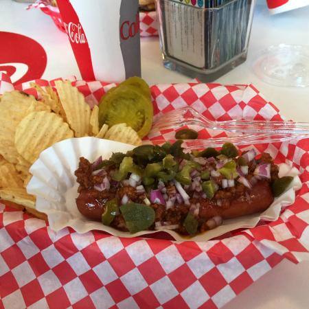 Rocky's Grill & Soda Shop : Chili Dog Basket with onions and jalepenos