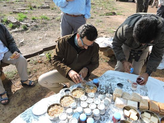breakfast on the road served by the staff
