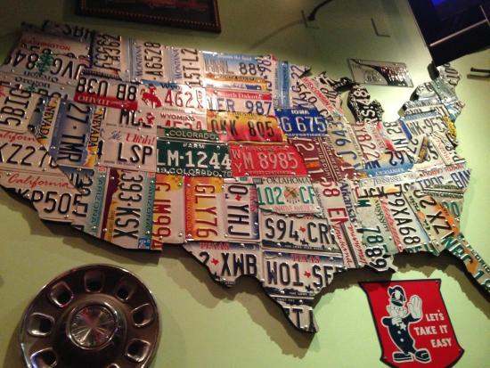 Quaker Steak & Lube: License plates as wall decor