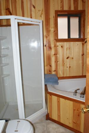 Whispering Pines Resort: Shower and Jacuzzi bathroom