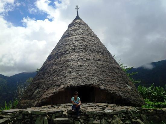 Ruteng, อินโดนีเซีย: Rumah Adat Utama untuk menyambut pengunjung. Dalam bahasa Manggarai disebut Mbaru Niang