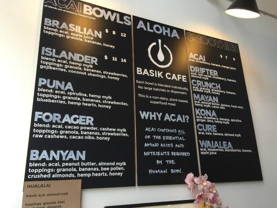Basik Cafe Smoothie And Acai Bowl Menu Choices Galore Don T Forget