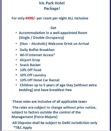 Iris Park Hotel INR 4999 Package
